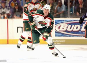 LOS ANGELES - OCTOBER 9: Filip Kuba #17 of the Minnesota Wild looks to make a play from the neutral zone against the Los Angeles Kings on October 9, 2005 at the Staples Center in Los Angeles, California. (Photo by Noah Graham/Getty Images) *** Local Caption *** Filip Kuba